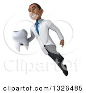 Clipart Of A 3d Young Black Male Dentist Flying And Holding A Giant Tooth Royalty Free Illustration by Julos