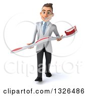 Clipart Of A 3d Happy Young Brunette White Male Dentist Carrying A Giant Toothbrush Royalty Free Illustration by Julos