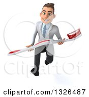 Clipart Of A 3d Happy Young Brunette White Male Dentist Sprinting And Carrying A Giant Toothbrush Royalty Free Illustration by Julos