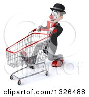 Clipart Of A 3d White And Black Clown Speed Walking To The Left With A Shopping Cart Royalty Free Illustration