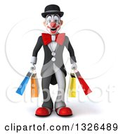 Clipart Of A 3d White And Black Clown Holding Shopping Bags Royalty Free Illustration