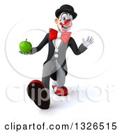 Clipart Of A 3d White And Black Clown Walking Waving And Holding A Green Apple Royalty Free Illustration