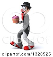 Clipart Of A 3d White And Black Clown Walking To The Left And Holding A Cupcake Royalty Free Illustration