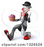 Clipart Of A 3d White And Black Clown Speed Walking To The Left Waving And Holding A Cupcake Royalty Free Illustration