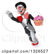 Clipart Of A 3d White And Black Clown Flying With A Cupcake 2 Royalty Free Illustration