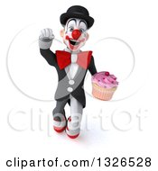 Clipart Of A 3d White And Black Clown Flying With A Cupcake Royalty Free Illustration