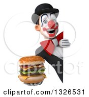 Clipart Of A 3d White And Black Clown Holding A Double Cheeseburger Around A Sign Royalty Free Illustration