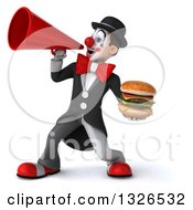 Clipart Of A 3d White And Black Clown Holding A Double Cheeseburger And Announcing To The Left With A Megaphone Royalty Free Illustration