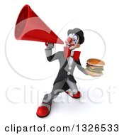 Clipart Of A 3d White And Black Clown Holding A Double Cheeseburger And Announcing Upwards With A Megaphone Royalty Free Illustration