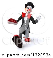 Clipart Of A 3d White And Black Clown Walking Waving And Holding A Beef Steak Royalty Free Illustration