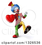 Clipart Of A 3d Colorful Clown Dancing And Holding A Heart Royalty Free Illustration