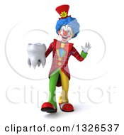 Clipart Of A 3d Colorful Clown Walking Waving And Holding A Tooth Royalty Free Illustration