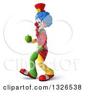Clipart Of A 3d Colorful Clown Walking To The Left And Holding A Green Apple Royalty Free Illustration