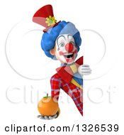 Clipart Of A 3d Colorful Clown Holding A Navel Orange Around A Sign Royalty Free Illustration