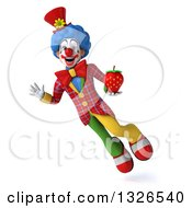 Clipart Of A 3d Colorful Clown Flying And Holding A Strawberry Royalty Free Illustration