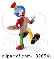 Clipart Of A 3d Colorful Clown Dancing And Holding A Pizza Royalty Free Illustration