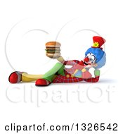 Clipart Of A 3d Colorful Clown Resting On His Side Holding And Looking At A Double Cheeseburger Royalty Free Illustration