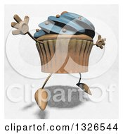 Clipart Of A Sketched Blue Frosted Cupcake Character Facing Right And Jumping Royalty Free Illustration by Julos