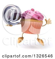 Clipart Of A 3d Pink Frosted Cupcake Character Holding An Email Arobase At Symbol And Jumping Royalty Free Illustration by Julos