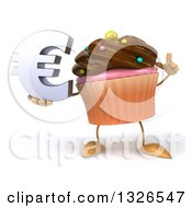 Clipart Of A 3d Chocolate Frosted Cupcake Character Holding Up A Finger And A Euro Symbol Royalty Free Illustration