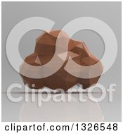 Clipart Of A 3d Brown Geometric Computing Cloud Over Shading Royalty Free Illustration