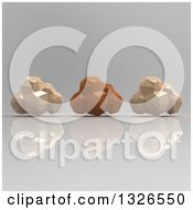Clipart Of 3d Brown Geometric Computing Clouds Over Shading Royalty Free Illustration
