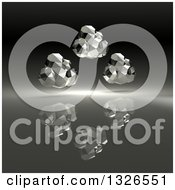Clipart Of 3d Silver Geometric Computing Clouds Over Black Royalty Free Illustration