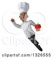 Clipart Of A 3d Young Black Male Chef Flying With A Strawberry Royalty Free Illustration