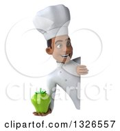 Clipart Of A 3d Young Black Male Chef Holding A Green Bell Pepper And Looking Around A Sign Royalty Free Illustration