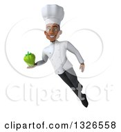 Clipart Of A 3d Young Black Male Chef Holding A Green Bell Pepper And Flying Royalty Free Illustration