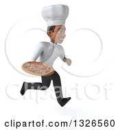 Clipart Of A 3d Young Black Male Chef Sprinting To The Right With A Pizza Royalty Free Illustration
