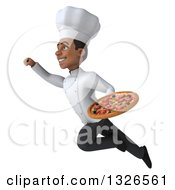 Clipart Of A 3d Young Black Male Chef Holding A Pizza And Flying Up To The Left Royalty Free Illustration
