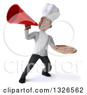 Clipart Of A 3d Young Black Male Chef Holding A Pizza And Announcing With A Megaphone Royalty Free Illustration