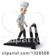 Clipart Of A 3d Young White Male Chef Facing Right And Walking On A Treadmill Royalty Free Illustration