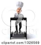 Clipart Of A 3d Young White Male Chef Struggling On A Treadmill Royalty Free Illustration