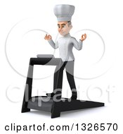 Clipart Of A 3d Young White Male Chef Facing Slightly Left Meditating And Walking On A Treadmill Royalty Free Illustration