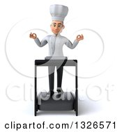 Clipart Of A 3d Young White Male Chef Meditating And Walking On A Treadmill Royalty Free Illustration