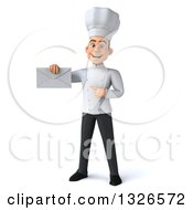 Clipart Of A 3d Young White Male Chef Holding And Pointing To An Envelope Royalty Free Illustration