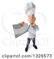 Clipart Of A 3d Young White Male Chef Thinking And Holding Up An Envelope Royalty Free Illustration