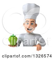 Clipart Of A 3d Young White Male Chef Holding A Green Bell Pepper Over A Sign Royalty Free Illustration
