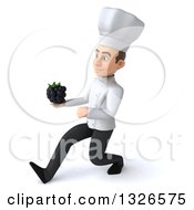Clipart Of A 3d Young White Male Chef Speed Walking To The Left And Holding A Blackberry Royalty Free Illustration