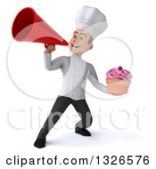 Clipart Of A 3d Young White Male Chef Holding A Pink Frosted Cupcake And Announcing With A Megaphone Royalty Free Illustration
