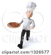 Clipart Of A 3d Young White Male Chef Speed Walking And Holding A Pizza Royalty Free Illustration