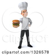 Clipart Of A 3d Young White Male Chef Holding A Double Cheeseburger Royalty Free Illustration
