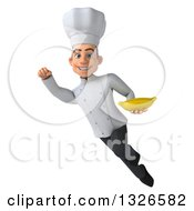 Clipart Of A 3d Young White Male Chef Flying With A Banana Royalty Free Illustration