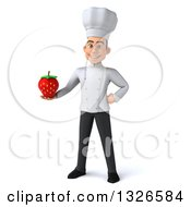 Clipart Of A 3d Young White Male Chef Holding A Strawberry Royalty Free Illustration