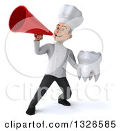 Clipart Of A 3d Young White Male Chef Holding A Tooth And Announcing With A Bullhorn Royalty Free Illustration