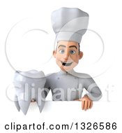 Clipart Of A 3d Young White Male Chef Holding A Tooth Over A Sign Royalty Free Illustration