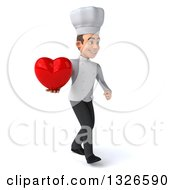Clipart Of A 3d Young White Male Chef Walking To The Right And Holding A Love Heart Royalty Free Illustration
