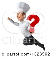 Clipart Of A 3d Young White Male Chef Flying To The Left With A Question Mark Royalty Free Illustration